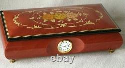 New Sorento Italy Wood Inlaid Quartz Clock Reuge Music Box Hava Nagila Jewish