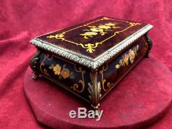 Northern Italian Floral Inlay Sorrento Music Box Reuge 36 Note Music (see Video)