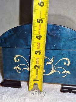 RARE Beautiful Chest Sorrento Inlaid Burl Wood Blue Jewelry Reuge Music Box