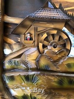 RARE LARGE Vtg Swiss REUGE Mill in the Black Forest Wood Wall Music Box Clock
