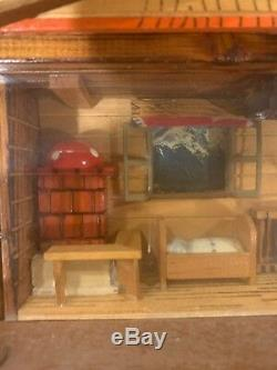 RARE LARGE Vtg Swiss REUGE Wood Wall Music Box Clock Antique Eine Huber Karte