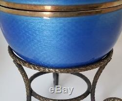 RARE Russian Faberge Egg Sterling Silver Enamel Guilloche Reuge Music Box Italy