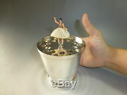 RARE VINTAGE REUGE DANCING BALLERINA MUSIC BOX Musical Cup (WATCH THE VIDEO)