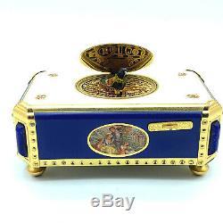 RARE Vintage Reuge Enamel & Lapis Singing Birdbox Music Box Automoton