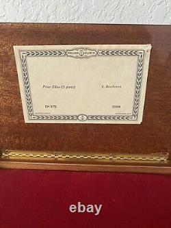 REUGE 72 Note Music Box Pour Elise Fur Elise Beethoven 3/72 SWITZERLAND INLAY