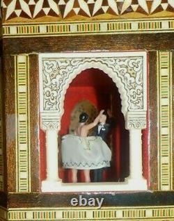 REUGE Dancing Couple BALLERINA Music Box AUTOMATON Gazebo Marquetery