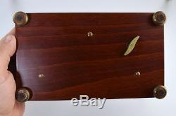 REUGE MUSIC BOX 4/50 NOTE BURL WOOD INLAY withBUTTERFLIES GORGEOUS