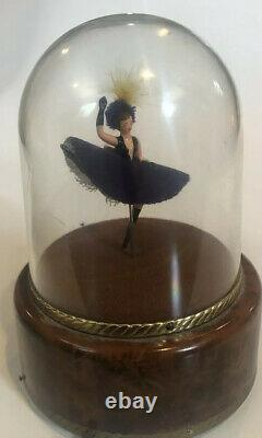 REUGE MUSIC BOX Switzerland FEATHERED CANCAN DANCER original dome