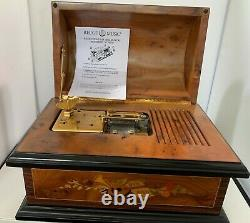 REUGE MUSIC THORENS INLAID SWISS DOMED TREASURE CHEST BOX With SIX 4 1/2 DISCS