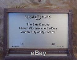 REUGE Music Box, 3 song, 36 Note, The Blue Danube, Minuet, Vienna City of My Dream
