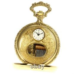 REUGE Music box white Dial Hand Winding Boy's Pocket watch 635502