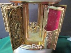 REUGE Musical Carousel Music Box Lipstick Holder Italy Swiss. Cherubs &Gargoyles