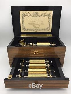 REUGE Swiss Music Box Hand Tooled 50 Lames, 10 Airs Interchangeable Music Box