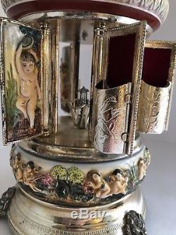 Rare 13inch CAPODIMONTE CAROUSEL ITALY REUGE MUSIC Box, Lipstick Holder! 100%