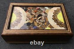 Rare Antique Reuge Butterfly Wings Mosaic Wood Music Box Mirror Jewelry Trinket