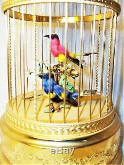 Rare Exquisite Antique Reuge Automaton 2 Songbirds in Gilt Cage Music Box EUC