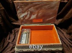 Rare Incolay Masquerade Ball Jewelry / Music Box with 50 Note Reuge Mvmnt. Listen