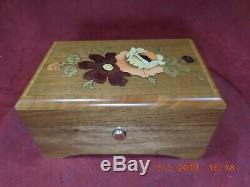 Rare Jobin Swiss Floral Inlay Reuge Ch 2/36 Music Box Edelweiss & Lara's Theme