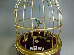 Rare Pre Reuge Singing Bird Box Cage (3 Birds) Clockwork Automaton (watch Video)