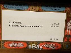 Rare Reuge Music Box Saint-Croix Switzerland CH 2/50 LA TRAVIAT/ RIGOLETTO VERDI