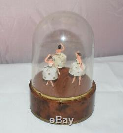 Rare Vintage Reuge 3 Dancing Ballerina Music Box Automaton See Video