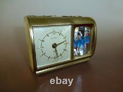 Rare Vintage Reuge Dancing Ballerina Music Box Saxony Mechanical Alarm Clock