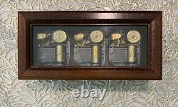 Rare Vintage Reuge / Romance 3 Cylinder Wooden Music Box Plays Multiple Songs