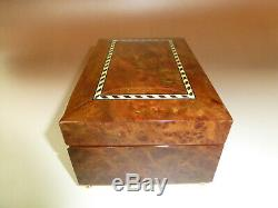 Rare Vintage Reuge Wedding Dancers Burl Wooden Jewelry Case Music Box Automaton