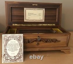 Rare Vintage Reuge Wooden Beveled Music Box 72 Note, 3 Song