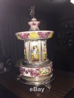 Rare Vintage Swiss REUGE Cigarette Holder Carousel Music Box Arivaderchi Roma