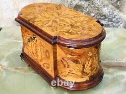 Rare Vintage Swiss Reuge Cylinder Music Box W Unusual Mahogany Case Hand Painted