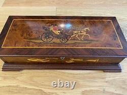 Reuge 144 Note Inlaid Burl Music Box with Horse & Carriage Motif Offenbach