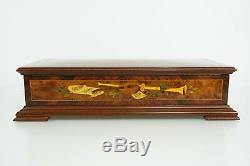 Reuge 144 Note Inlaid Burl Music Box with Horse & Carriage Motif Offenbach VIDEO