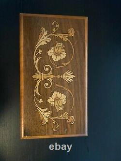 Reuge 50 Note 4 Tune Music Box in Inlaid Walnut Case. Hear it Play