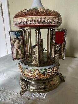 Reuge Capodimonte Cherub Carousel Lipstick Music Box Made in Italy