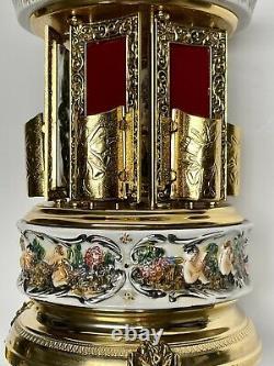 Reuge Capodimonte Music Box Carousel Lipstick Cigarette Holder Non Working