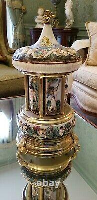 Reuge Capodimonte Porcelain Carousel Music Cherubs Lara's Theme & Edelweiss