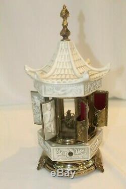 Reuge Capodimonte Porcelain Carousel Swiss Music Cigar Cigarette Dispenser Box