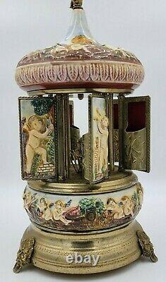 Reuge Capodimonte Porcelain Cherub Carousel Music Box Made In Italy