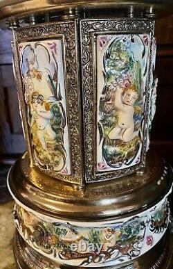Reuge Capodimonte Porcelain Cherub Music Box Carousel cigarette Lipstick Holder
