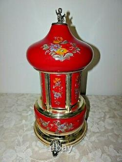 Reuge Carousel Music Box Cigarette Lipstick Holder Red Gold Floral Outstanding