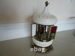 Reuge Carousel Porcelain Music Box Cigarette Lipstick Holder Vintage