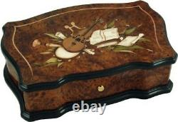 Reuge Cartel Musical Box with Inlaid Burl and Elm in Classical Design