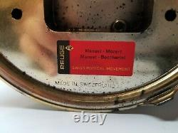 Reuge Cherub Cigarette Lipstick Carousel Swiss Movement Music Box Red Gold VTG