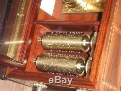 Reuge Cylinder Music Box 10 Songs 5 Cylinder Swiss 50 Walzenspieluhr Uhr Clock