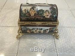 Reuge Dancing Ballerina Porcelain Gold Capodimonte Music/jewelry Box Automaton