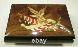 Reuge God Bless America Eagle & Flag Burl Music Box -Vintage- 4209