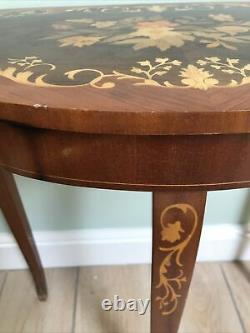 Reuge Italian Inlaid Half Moon side/console table with inbuilt music box