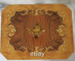 Reuge Italian Marquetry Inlaid Wood Floral Jewelry Music Box Accent Table