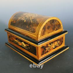 Reuge Italian Marquetry Treasure Chest 4-1/2 Music Box 9 Discs Excellent